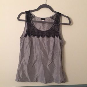 J Crew silver silk and black lace tank top. Size 6